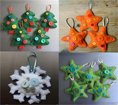Handmade Christmas decorations - Felt, buttons and patience needed!
