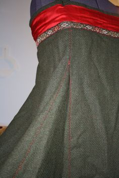 Beautiful detail on the seam. Viking fitted apron dress wool blend/ silk size by EverydayArchaea