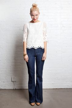 lace top, top knot, red lips and jeans. great look! I LOVE LACE :) there I said it!