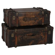 Crafted from wood, leather and metal, these vintage-look suitcases showcase a faded map design. | Joss & Main UK