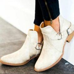 Boot Type: Fashion Boots Material: PU Lining Material: PU Outsole Material: Rubber Toe: Round Toe. Flat Boots Outfit, Sock Ankle Boots, Low Heel Boots, Low Heels, Heeled Boots, Women's Boots, Leather Shoes Brand, Buckle Outfits, Buckle Boots