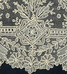 Brussels Point de Gaze  Point de Gaze laces were among the finest and most expensive of 19th century products, and most were made in Belgium -- with the most exquisite said to have come from Brussels.  Small inserts of this needle lace, called Rose Point, were frequently combined with Brussels Duchesse bobbin laces.
