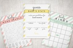 FREE Baby Shower Games, invites, and print customizalble printables.