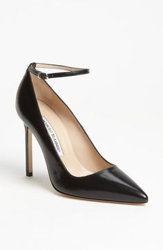 Pre-order this style today! Add to Shopping Bag to view approximate ship date. Youll be charged only when your item ships.A slim ankle strap redefines an iconic pointy-toe pump. Color(s): black leather. Brand: MANOLO BLAHNIK. Style Name: Manolo Blahnik RBB Pump. Style Number: 910437.