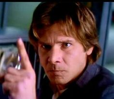 """Harrison Ford - I love Han Solo - looks like one of those gestures meaning """"Not one word or else. Harrison Ford Young, Harrison Ford Indiana Jones, 1980s Films, Anakin And Padme, Saga, Han And Leia, Star Wars Film, Original Trilogy, The Force Is Strong"""