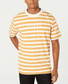 122cbac414a Guess Originals Men's Striped Logo T-Shirt - Yellow L Outfits With Striped  Shirts,
