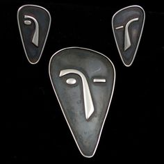 Modernist Sterling Silver Niello Demi Parure Brooch Earrings
