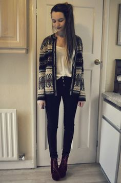 Multicolored thick patterned cardigan from tk maxx a great piece for cold/ depressing days and can add so much to an outfit. Paired with a plain white t shirt from Zara for about £2 and then some high waisted dark black jeans from primark which were £12 andcranberry colored JC Litas
