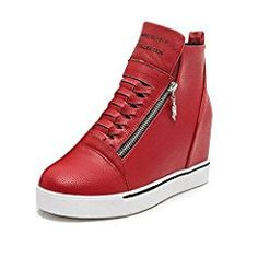 Women Ladies Trainers Side Zips Smart Shoes Casual Girls Wedge Shoes High Top Pump Sneaker Size