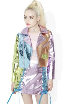 Sugar Thrillz Ballroom Blitz Metallic Moto Jacket girls in the back, get on the dancefloor! Make 'em go wild in this supa cool cropped jacket, featurin' an amazing metallic colorblock construction in pastel shades of pink, blue, green, 'N orange, moto lapel collar, zippered pockets on tha chest, metallic blue corset lace-up details at the lower back, and asymmetrical zip front closure.