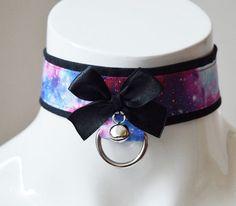 Kitten play collar - Black hole - bdsm proof black and galaxy printed - ddlg harajuku kawaii neko girl lolita choker with leash ring & bell