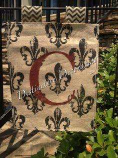 burlap with chevron - fleur de lis garden flag