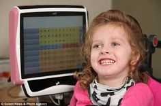 Lexie uses eye gaze software on a computer to communicate due to her severe cerebral palsy