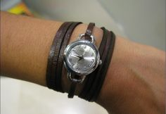 Leather Wrap Watch Handmade Retro small Bracelet watch Leather Watch with a thin dark brown leather band with a triple wrap style FREE SHIP via Etsy