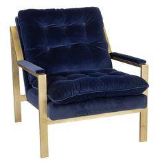 Gold Leaf Armchair with Velvet Cushions – Navy