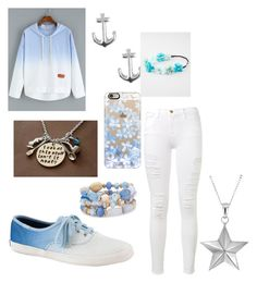 """""""Light blue and white"""" by tyanna955 on Polyvore featuring Keds, Jewel Exclusive, Frame Denim, Casetify, Full Tilt, True Rocks, Chico's, women's clothing, women and female"""