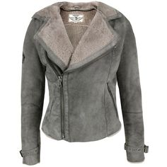 Dieselhedera Grey Shearling Jacket (710 AUD) found on Polyvore
