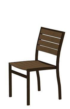 Polywood A100-16TE Euro Dining Side Chair in Textured Bronze Aluminum Frame / Teak
