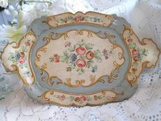 RARE Italian Hand Painted Floral Paper Mache Inspired Blue Wood Tole Tray