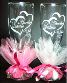 Gravure verre flute pour mariage, flute personnalisée gravée à vos prénoms décors au choix - verre gravé pour mariage, Contenant dragées mariage - Cadeaux ...