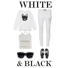 """White & Black"" by dldr on Polyvore"