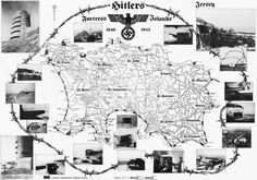 German Occupation map of Jersey Channel Islands from 1940 to 1945.