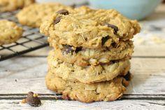 flourless peanut butter oatmeal chocolate chip cookies, gluten-free, healthy, cookies