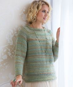 Tunisian Star Stitch Pullover Free Tunisian Crochet Pattern LW4635