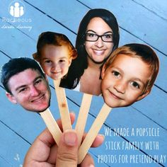 Clever pretend play activity for kids. Make popsicle stick puppets with family photos. {Racheous - Lovable Learning}
