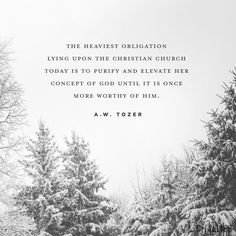 """The heaviest obligation lying upon the Christian Church today is to purify and elevate her concept of God until it is once more worthy of Him."" (A.W. Tozer.)"
