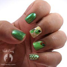 Green Apple Design #nailenvy #mani #polish #nailart - bellashoot.com