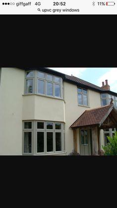 Grey upvc windows Grey Windows, Upvc Windows, Entrada Frontal, Bay Window, Bungalow, House Ideas, Home And Garden, Gardens, Exterior