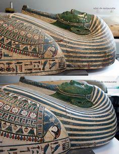 Peftjaoeneith ligt er weer prachtig bij! Restaurator Helbertijn Krudop begon een paar maanden geleden met het herstellen van de mummiekist van deze Egyptenaar uit ca. 650 v.Chr. Zie hier het resultaat. De kist is schoongemaakt, scheuren en barsten zijn opnieuw behandeld, en afbladderende verf is bijgewerkt. Op de foto's kun je een paar verschillen zien tussen vóór en na de restauratie.