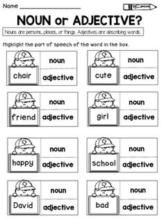 Parts of Speech: Nouns, Verbs, Pronouns, Adjectives, and Adverbs Nouns And Verbs Worksheets, Parts Of Speech Worksheets, Part Of Speech Noun, Adjective Worksheet, Nouns And Adjectives, 2nd Grade Worksheets, School Worksheets, Adverbs, Learning English For Kids