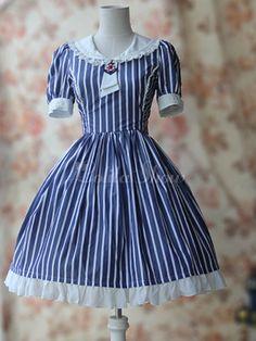 Classic Navy Print Short Sleeves Cotton Lolita One-Piece - Lolitashow.com