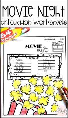 These super fun, movie themed articulation worksheets are a fun way to motivate students to engage in drill work. You can use these speech activities during mixed therapy sessions or send home as speech homework. This product contains most phonemes in all word positions. Also included are blends and a variety of vocalic /r/ targets. This is a must have for the busy SLP! Great for preschool and elementary students!