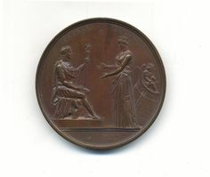 """Napoleon, Coronation Festivities and Banquet at Paris. Bronze Medal. By Galle and Jeuffroy. Circa 1804. Seated Figure of Napoleon Receiving a Civic Crown from a Figure of Paris. """"TVTELA PRAESENS / EPVLVM SOLLEMNE / IMPERATORIS IN CVRIA / VRBANA - PRIM - A - XIII"""". 68mm."""