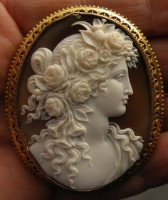 Flora, Roman Goddess of Flowers, Cameo. -- http://www.antiquecameos.net/archive4.htm