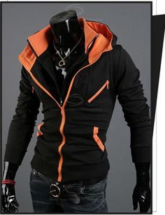 Sports Fan Hooded Color Match Zipper Embellished Faux Twinset Cotton Coat For Men