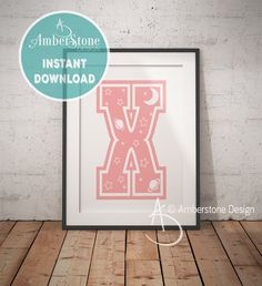 Pink Letter X, LETTER X Print, Letter X, Pink Nursery, Girls Letter X, Baby Girl Print, Gift for Baby Girl, Baby Shower, Pink Monogram by AmberstoneDesign on Etsy Typography Art, Lettering, Zebra Decor, Black And White Printer, Nursery Letters, Photo Store, Amber Stone, Baby Girl Gifts, Girl Nursery