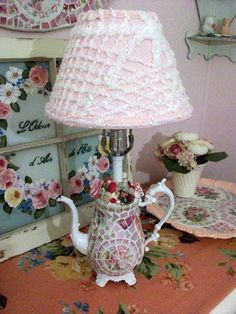 Shabby Cottage Mosaic Teapot Lamp with Pink Chenille Shade- SOLD