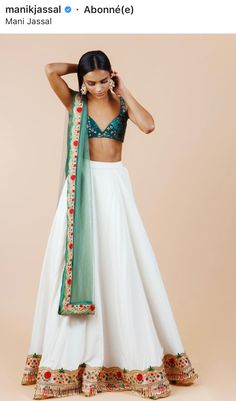 how to wear indian wedding dress Indian Lehenga, Indian Gowns, Indian Attire, Indian Wear, Lehenga White, Indian Formal Wear, Green Lehenga, Indian Party Wear, Indian Suits