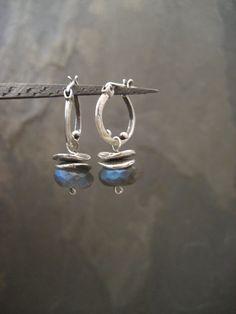 Labradorite earrings, labradorite hoops, dangle labradorite, small hoops, blue flash, labradorite posts, silver hoops, gemstone hoops