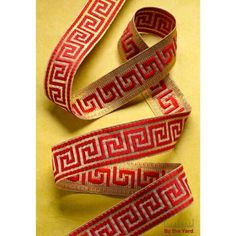 "1-3/8"" Woven Greek Key Band—Red/Gold 10yd - Herrschners"