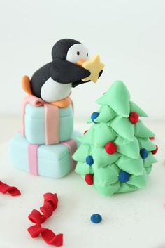 sharon wee - wee love baking - christmas - christmas cake topper - penguin decorating christmas tree