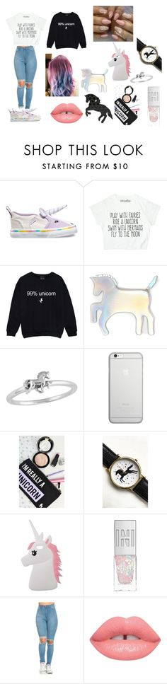 """""""Unicorn Love 2"""" by puddles-6 ❤ liked on Polyvore featuring Vans, WithChic, Native Union, Tallulah's Threads, Miss Selfridge, Lime Crime and Capelli New York"""