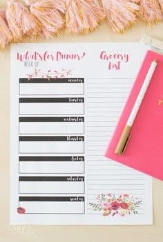 This pretty floral meal planning printable will inspire you to meal plan! Print out a bunch and store them in a notebook - meal planning will be so pretty! Meal Planning Printable, Menu Planning, Free Meal Plans, Free Things, Healthy Dinner Recipes, Healthy Meals, Free Coloring Pages, Meal Planner, How To Plan