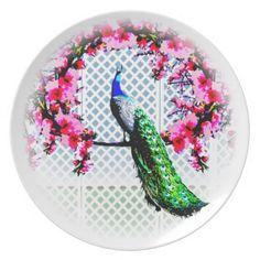 http://www.zazzle.com.au/peacock_cherry_blossoms_and_lattice-115251900907494029?rf=238523064604734277 Peacock Cherry Blossoms And Lattice - This melamine plate features a peacock perching on a cherry blossom branch in front of a lattice wall.
