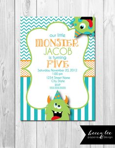 Little Monster Birthday Invitation - Chevron Stripes and Polka Dots - Blue Green and Orange - DIY - Printable