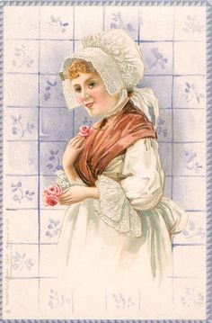 3758 - Set of 6, DELFT, Dutch people, tiles, series 2 - 1902